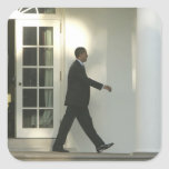 President Barack in deep thought as he walks Square Sticker
