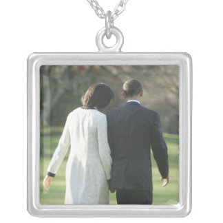 President Barack Obama and First Lady Michelle Square Pendant Necklace