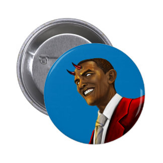President Barack Obama as the Devil Halloween Button