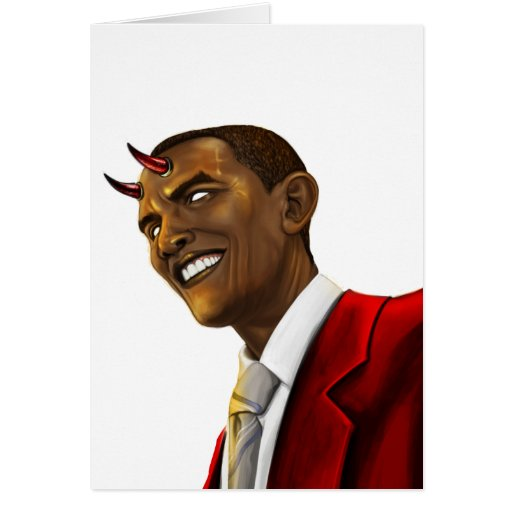 President Barack Obama as the Devil Halloween Greeting Cards