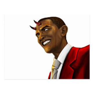 President Barack Obama as the Devil Halloween Postcard