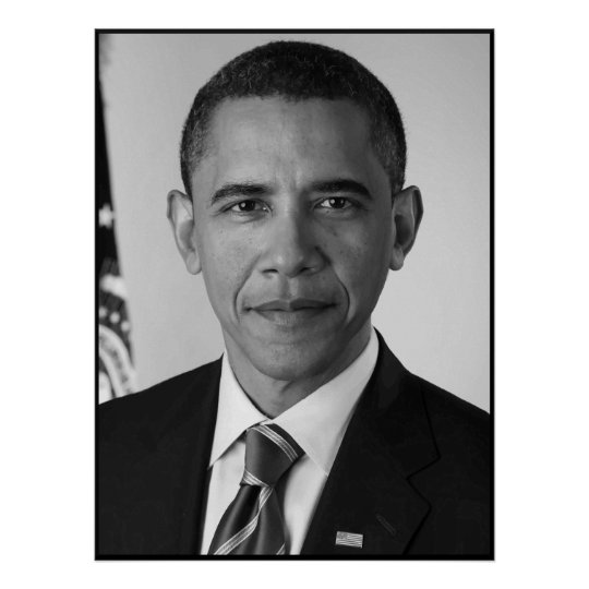 President barack obama black and white poster