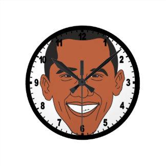President Barack Obama Cartoon Face Round Clock