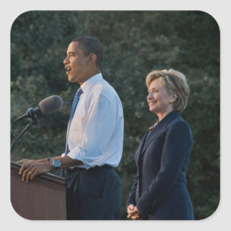 President Barack Obama & Hillary Clinton Square Sticker