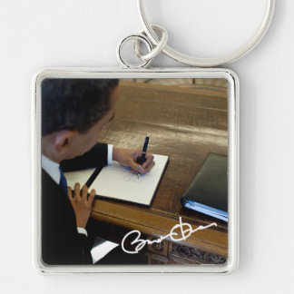 President Barack Obama Silver-Colored Square Keychain