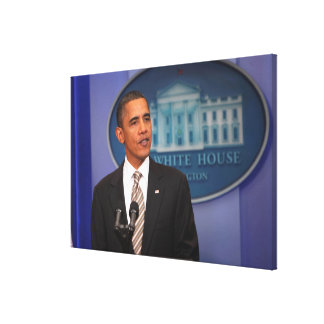 President Barack Obama makes an announcement Canvas Print