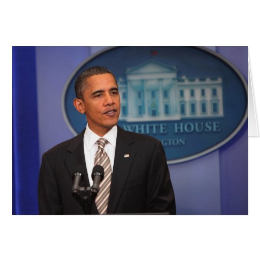 President Barack Obama makes an announcement Greeting Cards