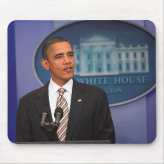 President Barack Obama makes an announcement Mouse Pad