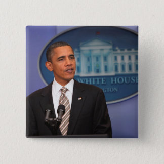 President Barack Obama makes an announcement Pinback Button