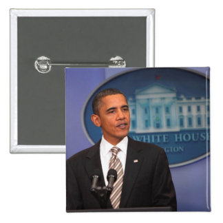 President Barack Obama makes an announcement Pinback Button
