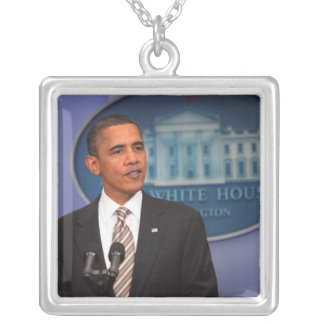 President Barack Obama makes an announcement Silver Plated Necklace