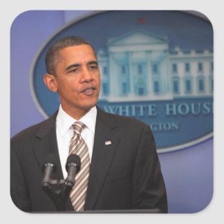 President Barack Obama makes an announcement Square Sticker