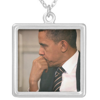 President Barack Obama meets with President Silver Plated Necklace