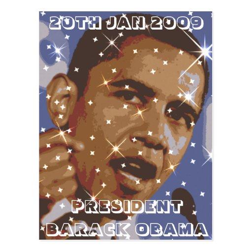 PRESIDENT BARACK OBAMA POSTCARD , 20TH JAN 2009