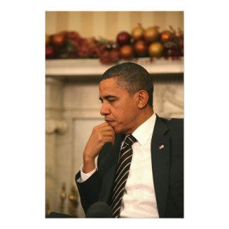 President Barack Obama reflects as he meets Photo Print