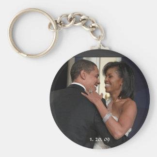 President Barack Obama & the 1st Lady, 1. 20. 09 Basic Round Button Keychain