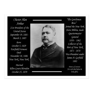 President Chester Alan Arthur Postcard