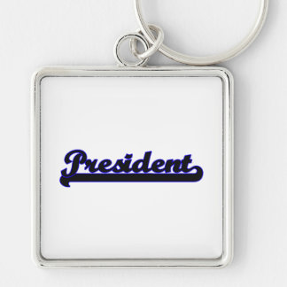 President Classic Job Design Silver-Colored Square Keychain