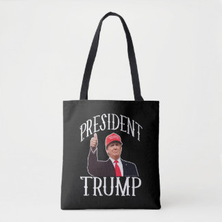 President Donald Trump Red Hat Thumbs Up Tote Bag