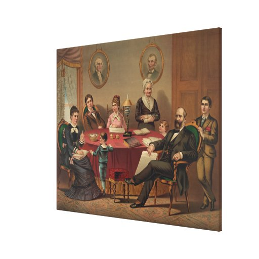 PRESIDENT GARFIELD & FAMILY Lithograph Print Canvas Print