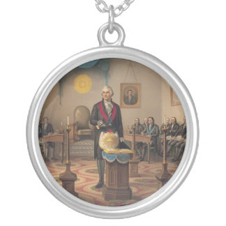President George Washington as a Master Mason Silver Plated Necklace