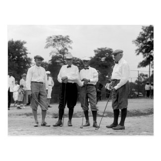 President Harding Golf Foursome, 1920s Postcard