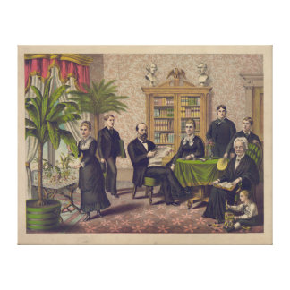 President James Garfield and family in library Canvas Print