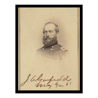 President James Garfield Signed Card 1861 Poster