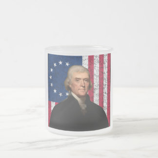 President Jefferson and The American Flag Frosted Glass Coffee Mug