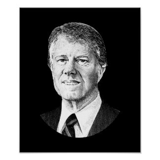 President Jimmy Carter Graphic - Black and White Poster