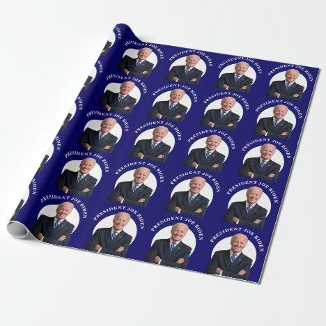 President Joe Biden Portrait on Blue Wrapping Paper