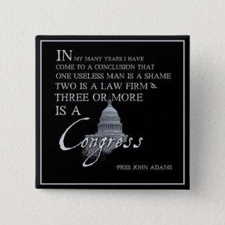 President John Adams on Congress Pinback Button