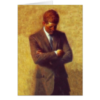 President John F Kennedy Fractal Portrait Picture Card