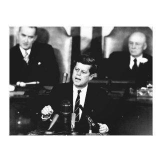 President John F. Kennedy Men to the Moon Speech Canvas Print