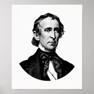 President John Tyler Graphic - Black and White Poster