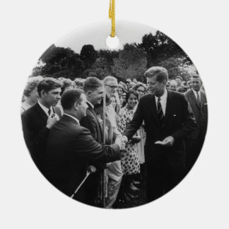 President Kennedy Greets Peace Corps Volunteers Ceramic Ornament