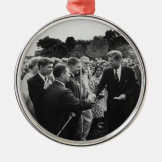 President Kennedy Greets Peace Corps Volunteers Metal Ornament