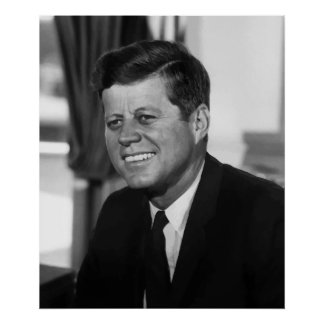 President Kennedy In Black And White Poster