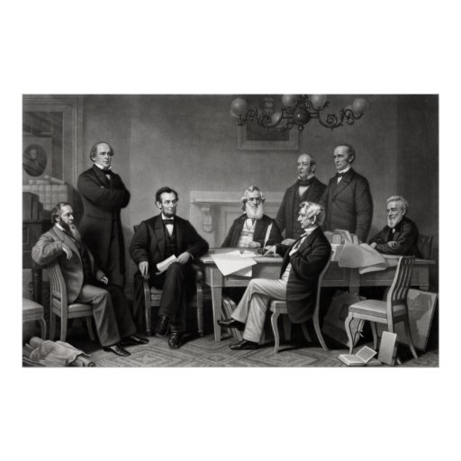 President Lincoln and His Cabinet Print