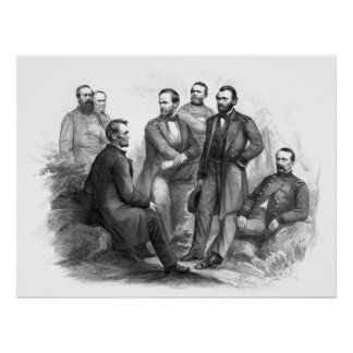 President Lincoln and His Commanders Poster