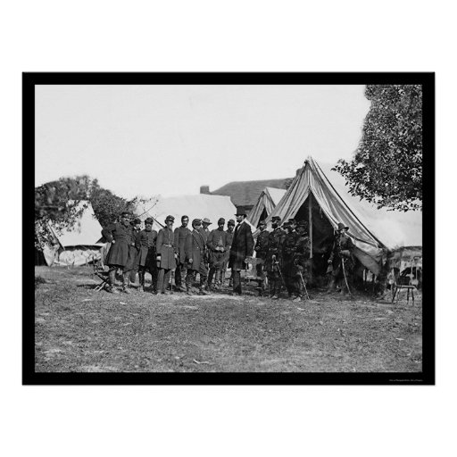 President Lincoln at Antietam 1862 Print