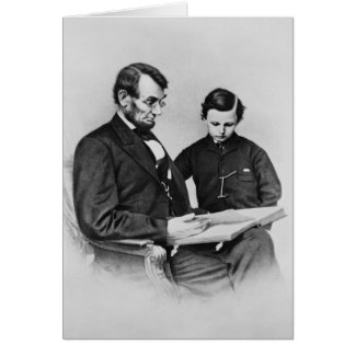 President Lincoln Greeting Card -reading with Son