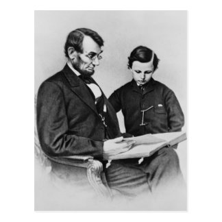 President Lincoln Postcard - Reading with son Tad