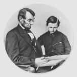 President Lincoln reading with son Tad, 1864 Round Sticker