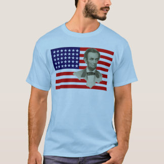 President Lincoln with 35 Star Union Flag T-Shirt