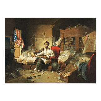 President Lincoln Writing Proclamation of Freedom Card