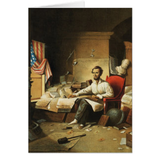 President Lincoln Writing Proclamation of Freedom Cards