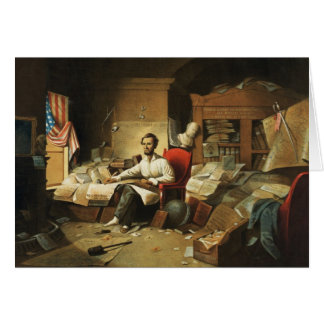 President Lincoln Writing Proclamation of Freedom Greeting Card
