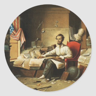 President Lincoln Writing Proclamation of Freedom Classic Round Sticker