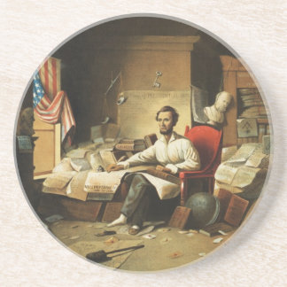 President Lincoln Writing Proclamation of Freedom Drink Coaster